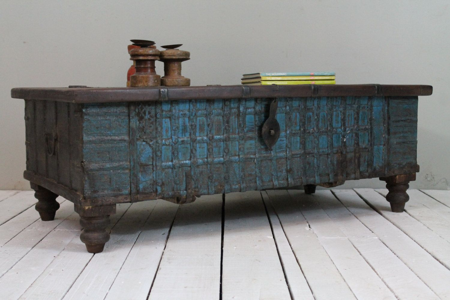 Reclaimed Trunk Coffee Table Antique Indian Turquoise Blue Wood Iron And Br Storage Wedding Chest