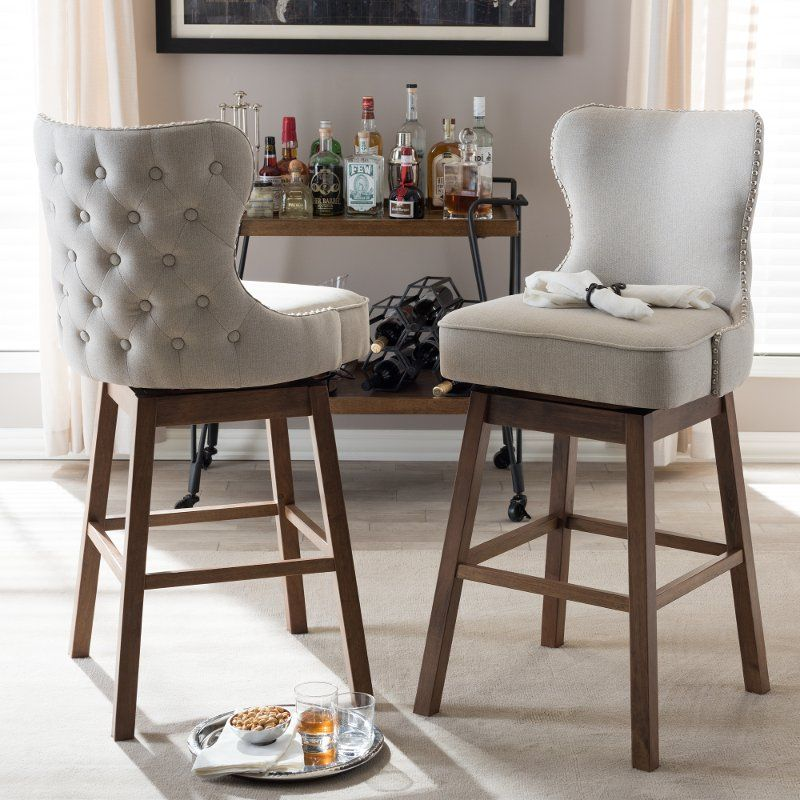 Taupe Button Tufted Upholstered Swivel Bar Stool Pair Gradisca