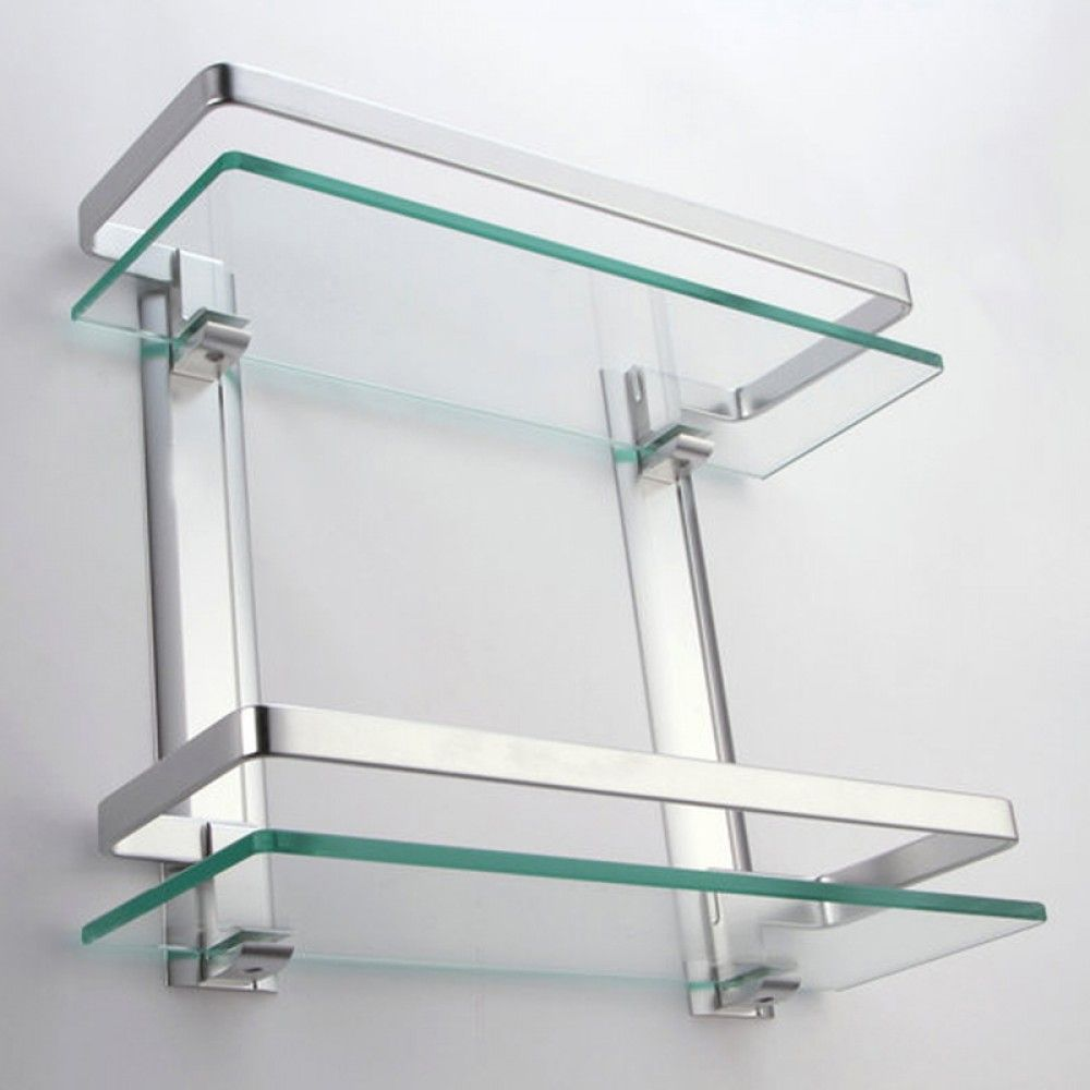 KES Bathroom 2-Tier Glass Shelf with Rail Aluminum and Extra Thick ...