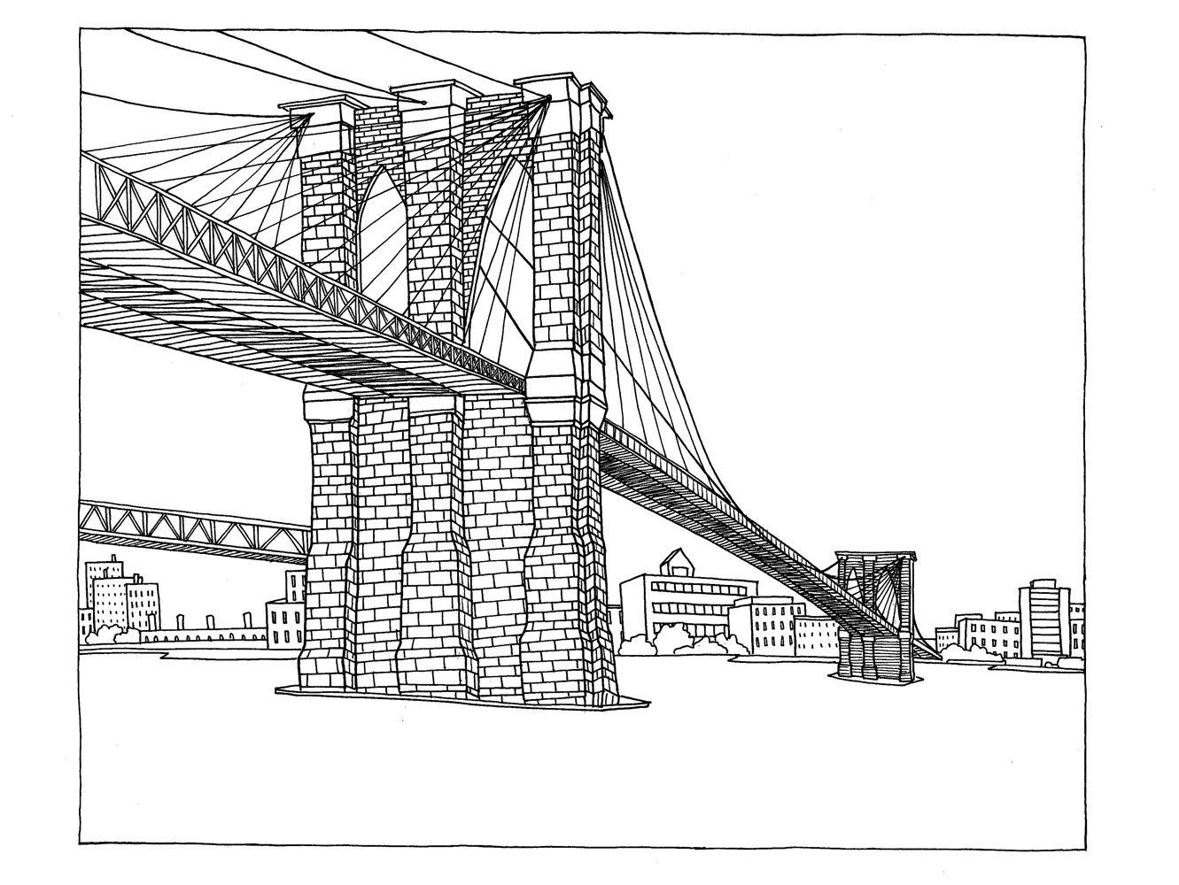 Line drawing of Brooklyn Bridge   Tattoo - Maybe ...