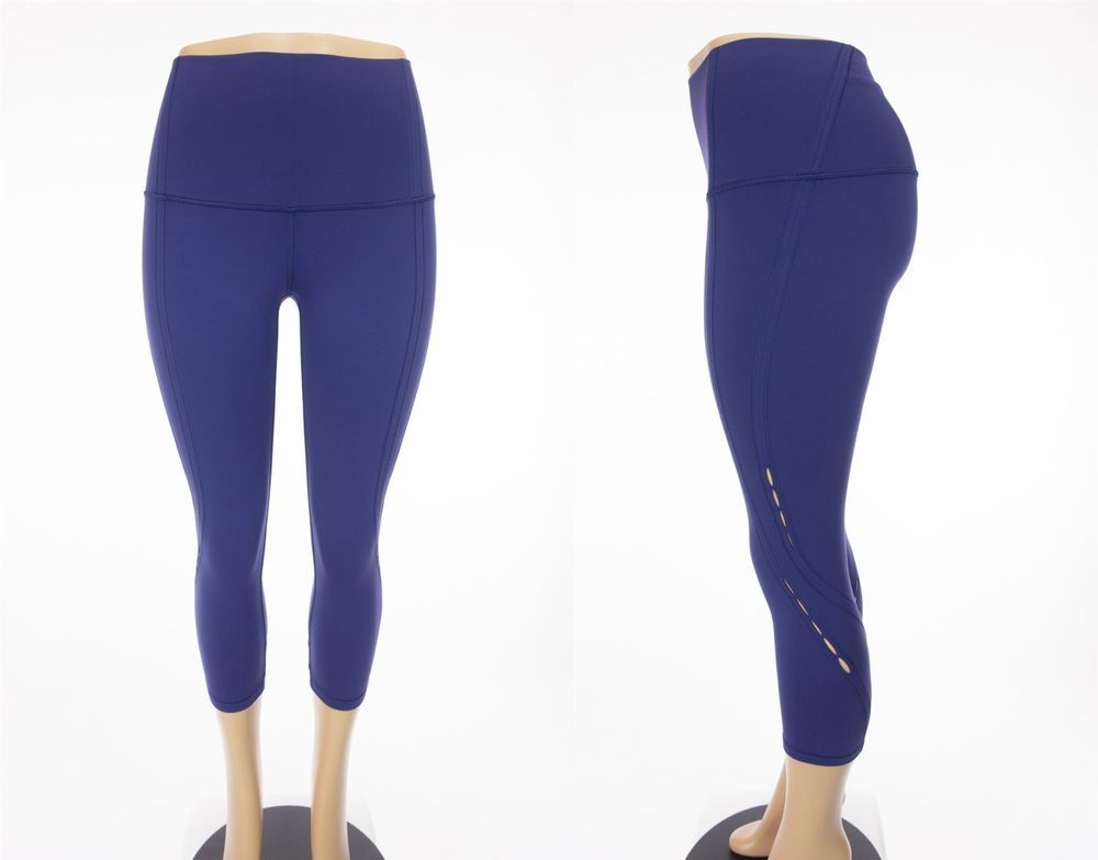 9434dcfbf7456 LULULEMON Wunder Under Crop High Rise SE Peek 6 S Emperor Blue Pants Yoga  #Lululemon #PantsTightsLeggings