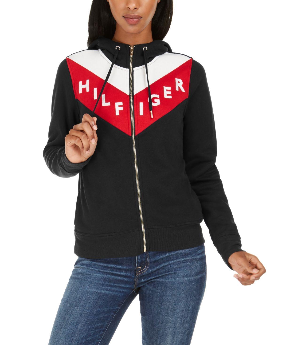Tommy Hilfiger Sport Colorblocked Zip Hoodie Black Womens Clothing Tops Hoodies Womens Big Clothes