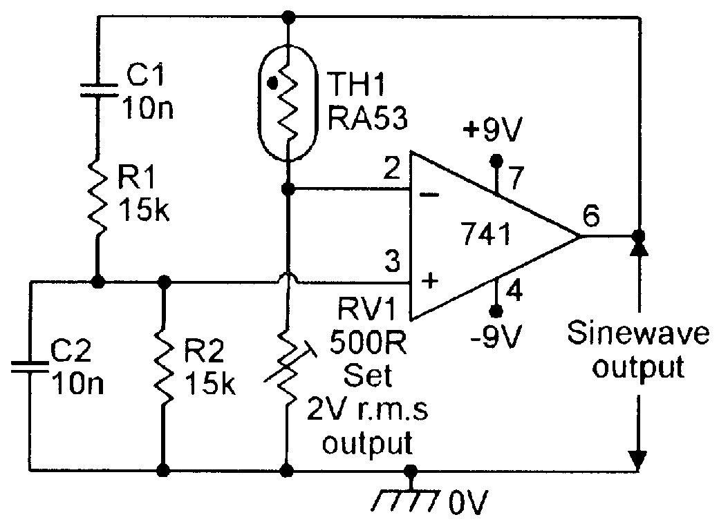 Thermistor stabilized 1kHz Wien Bridge oscillator