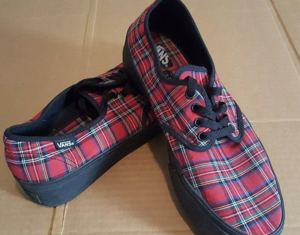 3eb50debd7 Vans Authentic Plaid Mix Red Black Mens Skate Trainers Womens size 10  Vans   SkateShoes