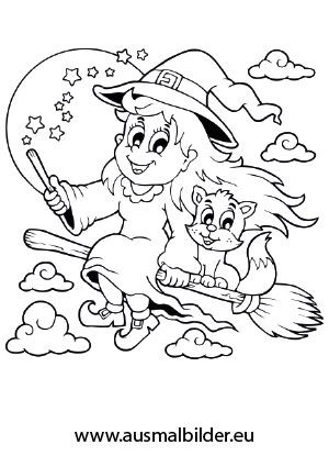 Kinderbilder fürs kinderzimmer katze  halloween ausmalbilder hexe 02 | Malen | Pinterest | Halloween ...