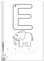 E is for Elephant vowel tracing sheet and coloring page