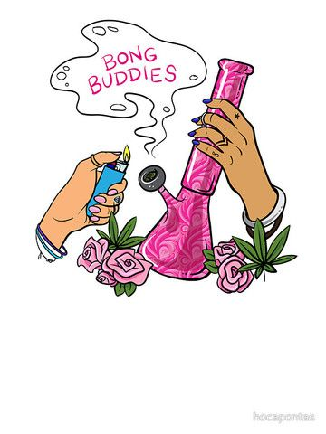 Bong buddies 420 smoke stoner girl sticker by hocapontas