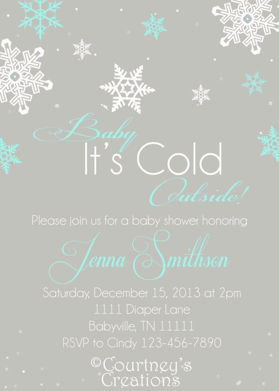 baby it's cold outside - winter themed printable 5x7 baby shower, Baby shower invitations