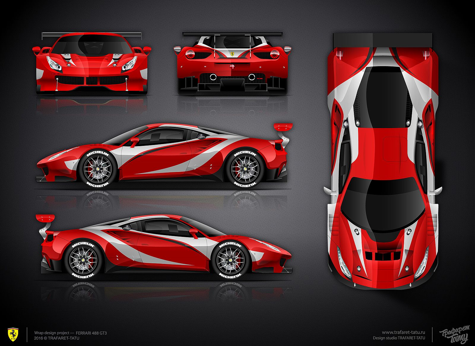 The approved livery design for ferrari 488 gt3