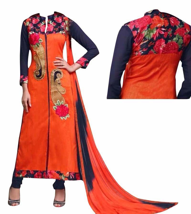 Orange Bhagalpuri Silk Designer Suit