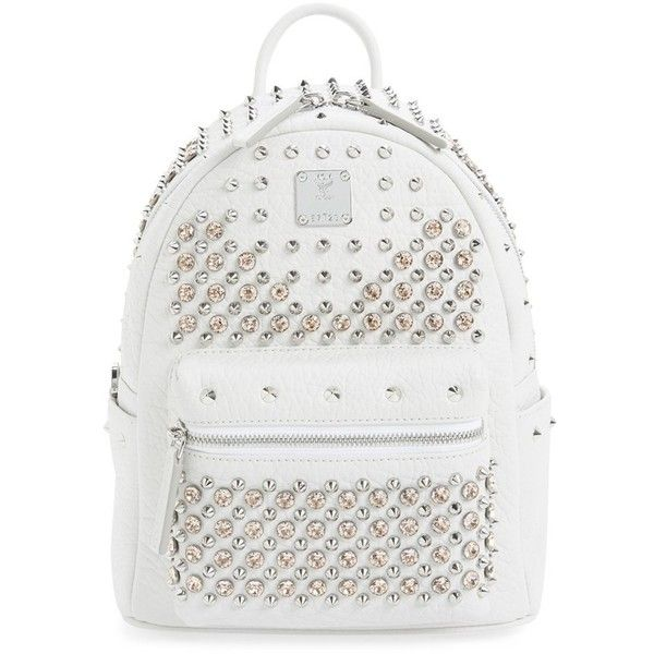 MCM 'Studded - Small' Leather Backpack ($2,095) ❤ liked on Polyvore featuring bags, backpacks, white, leather studded backpack, real leather backpack, leather daypack, mcm and leather bags