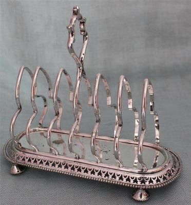 RARE ANTIQUE VICTORIAN WALKER & HALL SILVER PLATE TOAST ...
