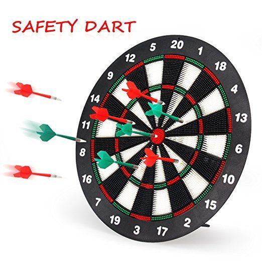 Geekper Safety Dart Board Set For Kids 16 Inch Rubber Dart Board