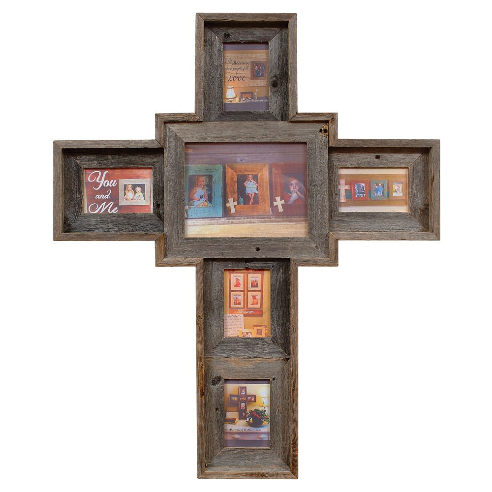 natural barnwood cross picture frame