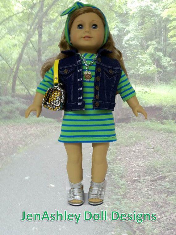 American Girl Doll Clothes: Jean Jacket Vest, Knit Dress, Sandals ...