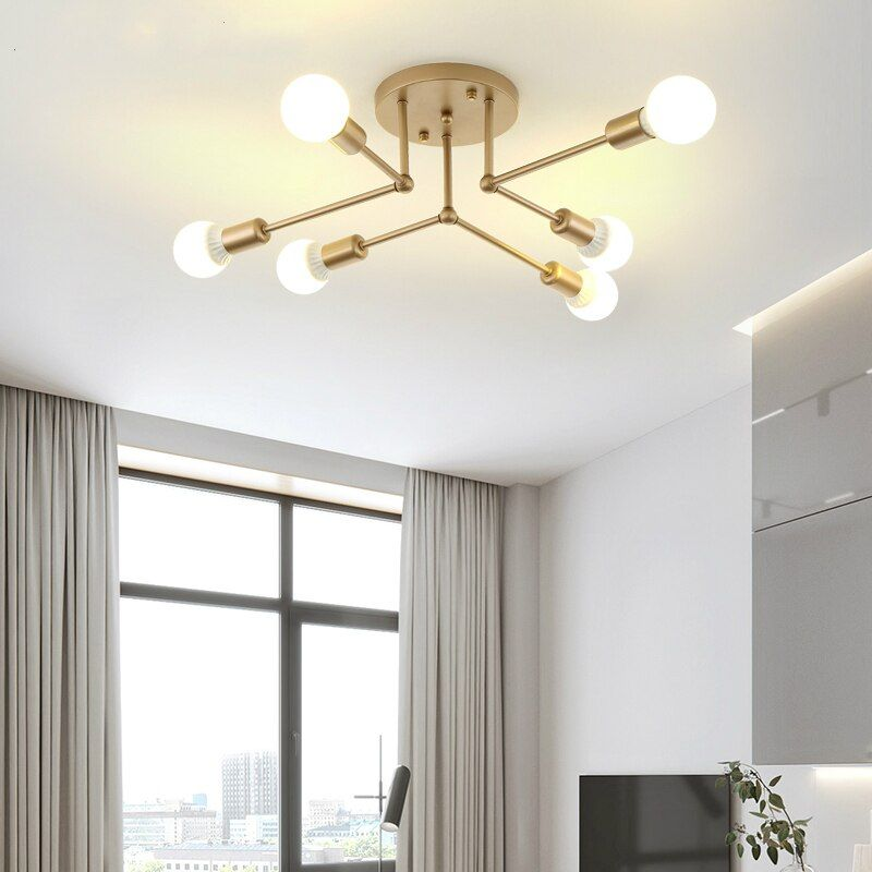 Cheap Modern Minimalist White Black Golden Chandelier Ceiling
