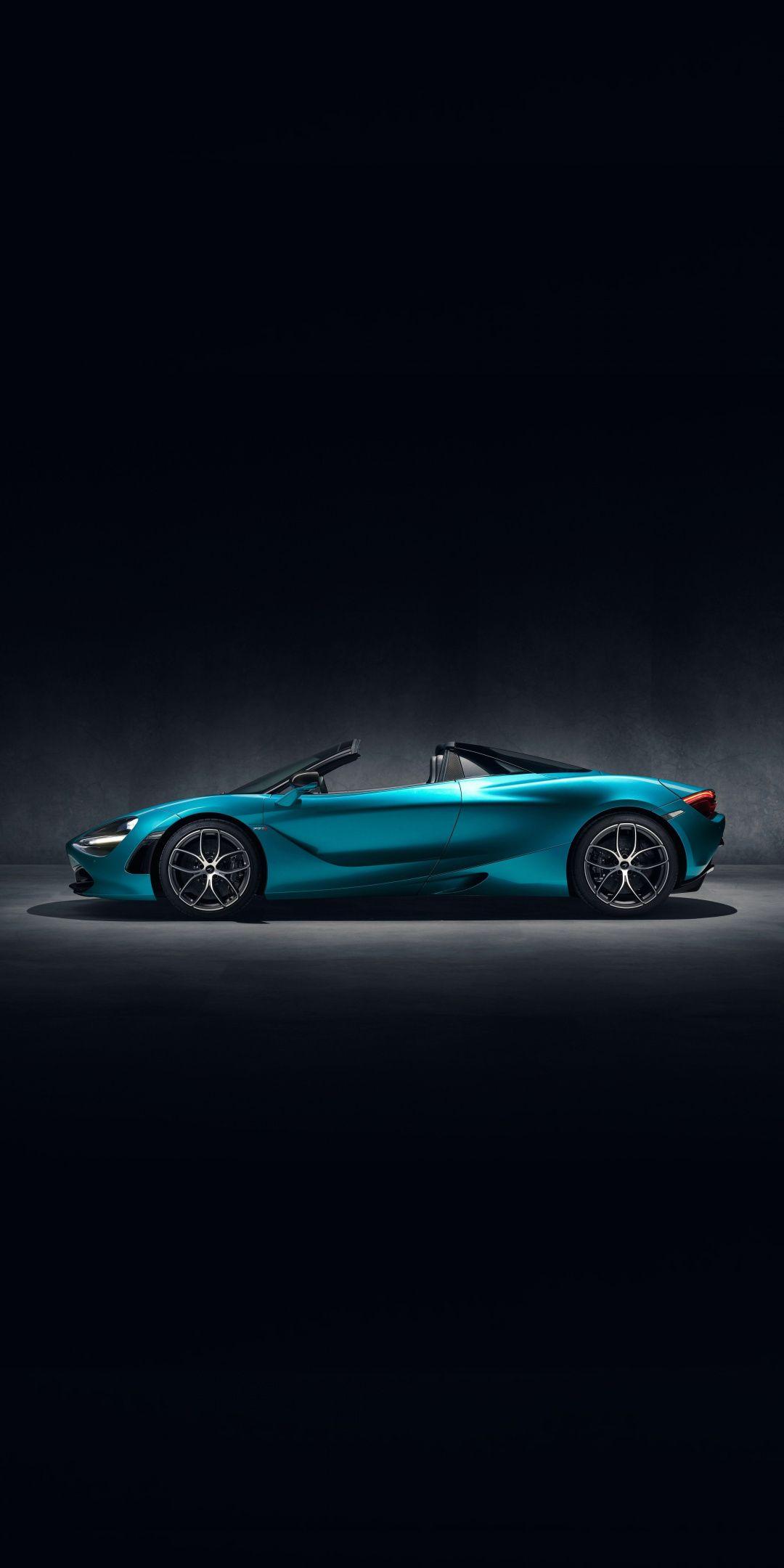 Sports Car Mclaren 720s Sky Blue Side View 1080x2160 Wallpaper