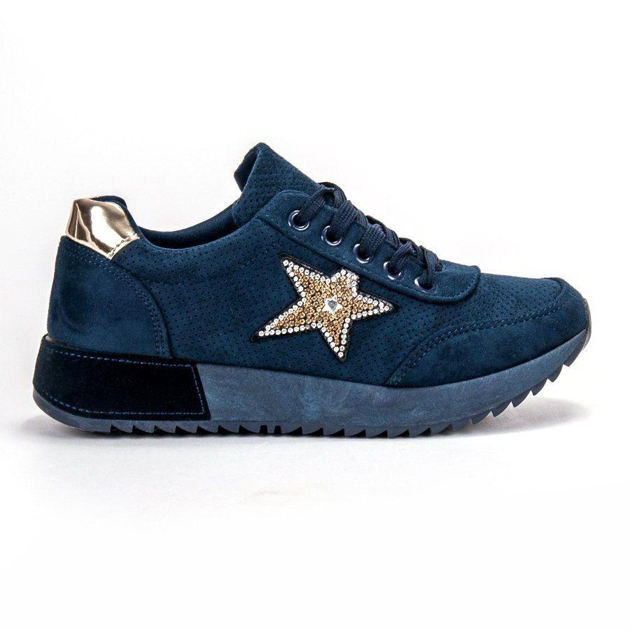 Trampki Damskie Shelovet Shelovet Niebieskie Granatowe Zamszowe Trampki Fashion Shoes Sneakers