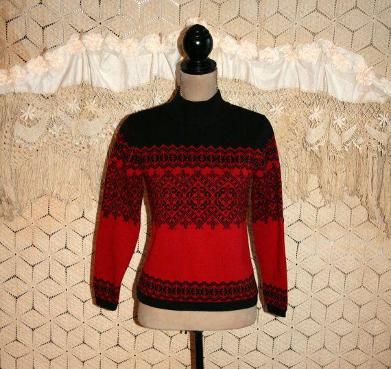 Red Black Fair Isle Sweater Norwegian Nordic Ski by MagpieandOtis ...