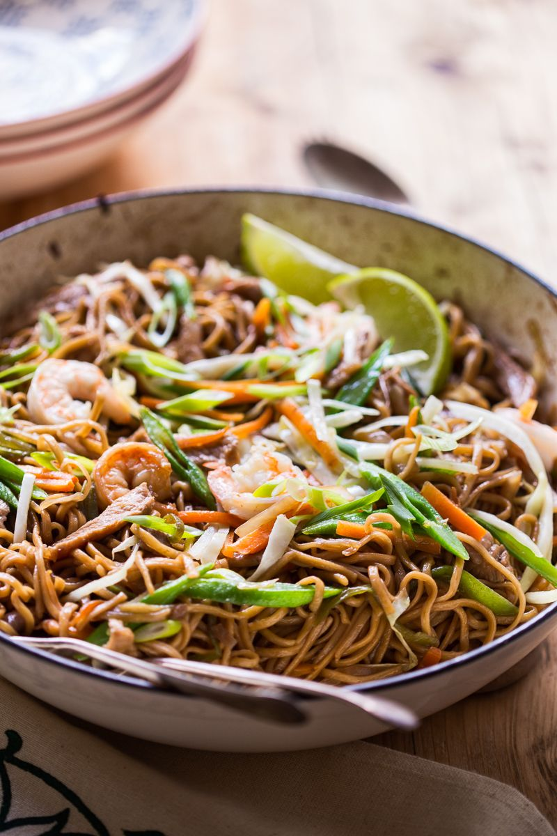 Filipino Noodles with pork, shrimp and vegetables aka