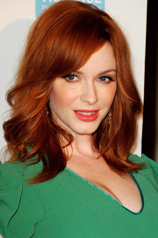 Christina Hendricks Red Hair Celebrities Celebrity Bangs Hairstyles With Bangs
