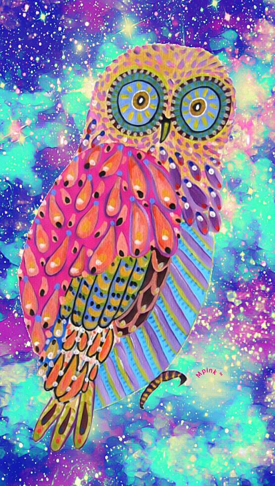 Colorful Owl Galaxy Iphone Android Wallpaper I Created For The App Top Chart Wallpaper Cute Girly Art Owl Wallpaper Trippy Wallpaper Hd Iphone 6 Wallpapers