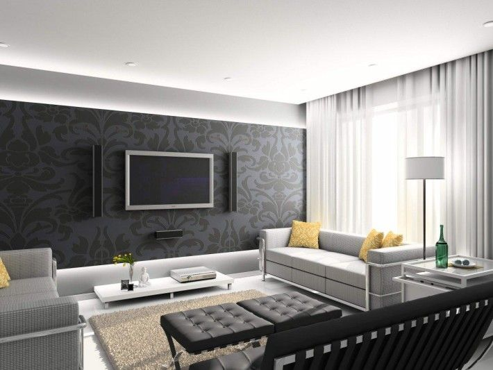 Living Room Gorgeous Modern Living Room Design With Black - Black wall behind tv