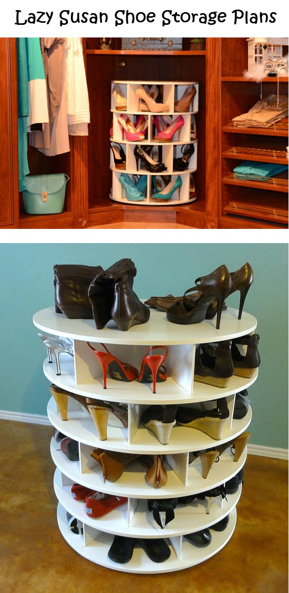 Lazy Susan Shoe Storage Plans  Interesting... I can use this to store much more than shoes.......