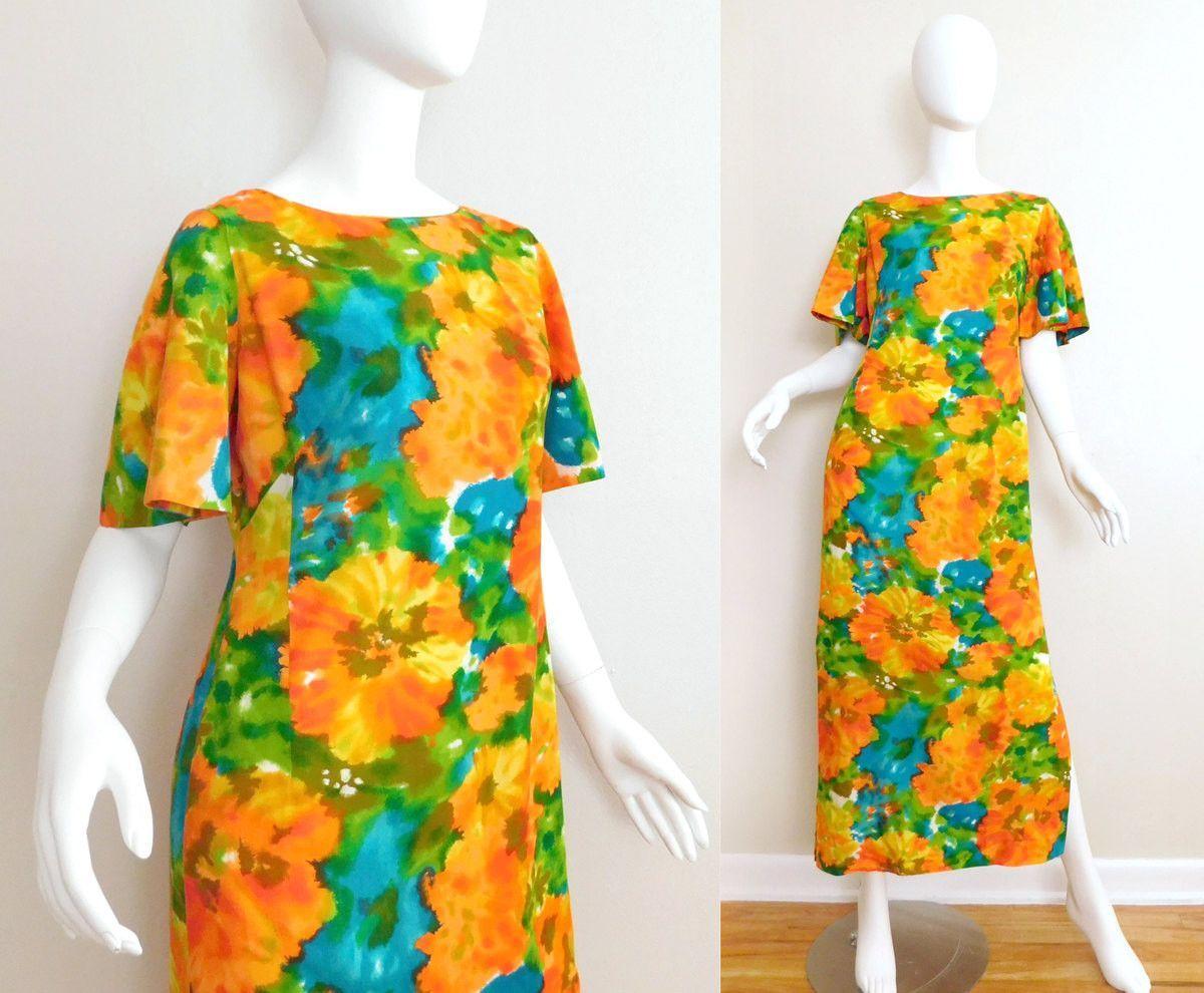 Sz s s diamond head hawaiian floral maxi dress vintage