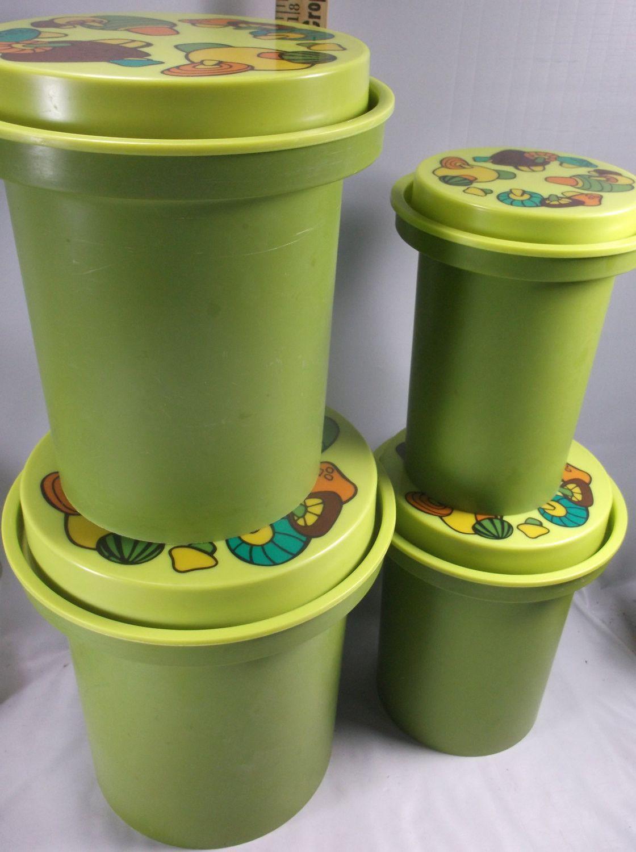 canister set vintage brady bunch style rubbermade nesting avocado