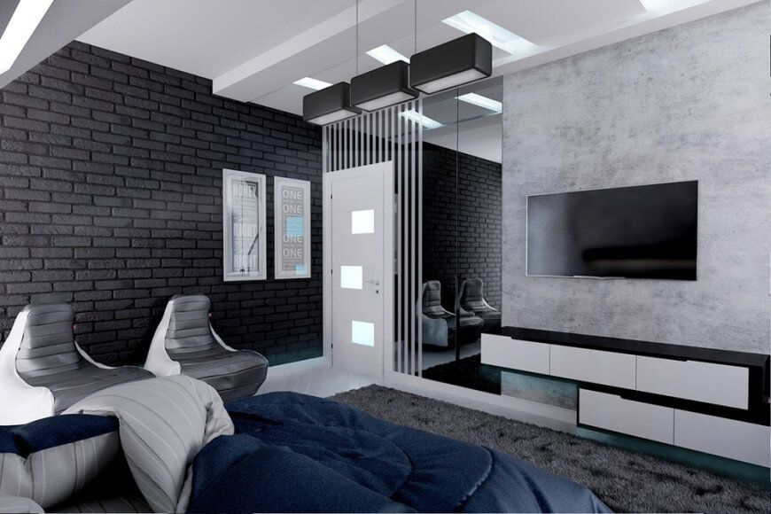 Sleek And Eccentric 50 Shades Of Grey Home Modern Bedroom Design Black Brick Wall Modern Bedroom