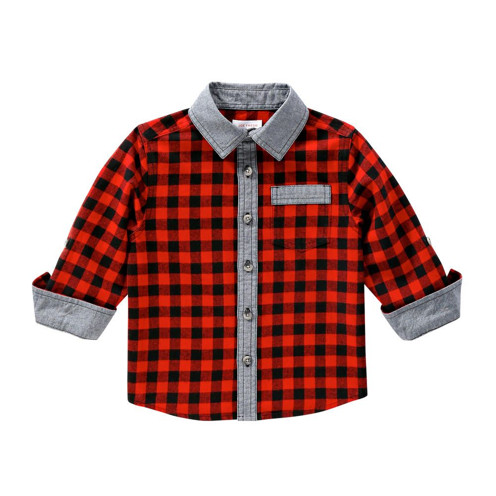 Joe Fresh Toddler Boys' Denim and Plaid Shirt | Boys denim ...