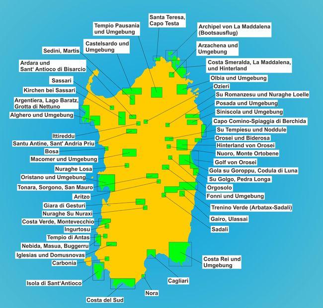 Karte Sehenswurdigkeiten Sardinien Sardinien Urlaub Sardinien