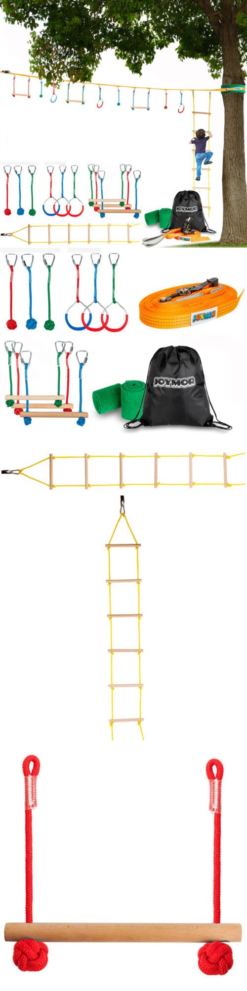 7f07454a090 Swings Slides and Gyms 16515  Joymor Ninja Obstacle Course For Kids Extra  Long Slack Line With Climbing Ladder -  BUY I…