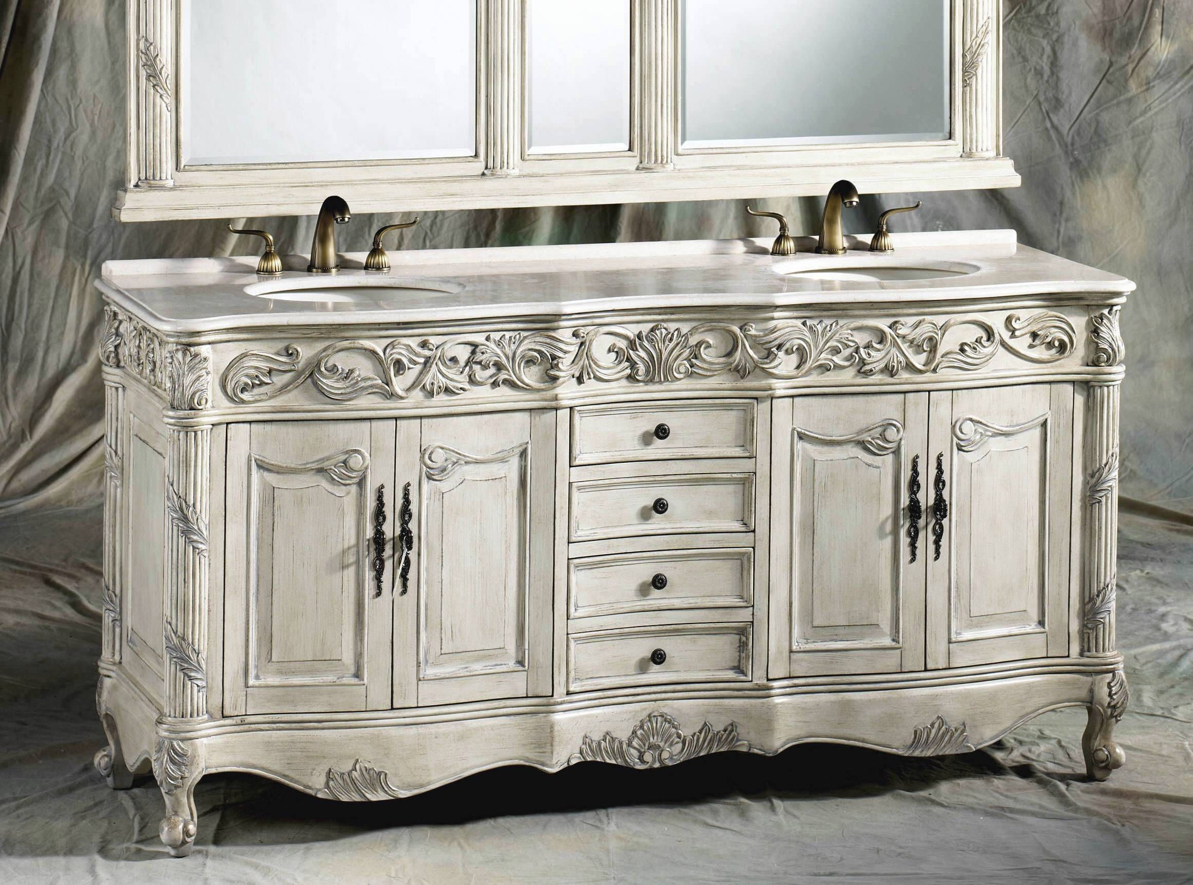 Antique White Wooden Chest Vanity With Matching Double Wall Mirrors And Ferrari Traditional Bathroom Vanity Unique Bathroom Vanity Double Sink Bathroom Vanity