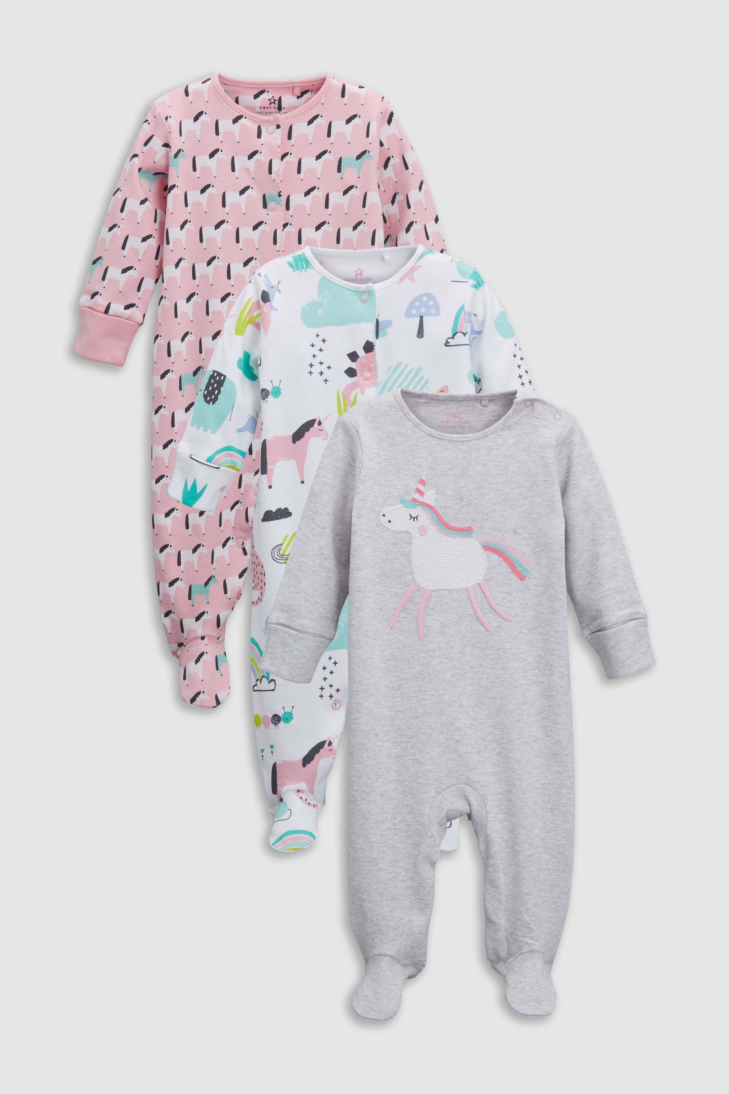 15f15bdaf ... UK online shop. Girls Next Pink Unicorn Sleepsuits Three Pack  (0mths-2yrs) - Pink
