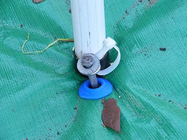 Pop Up Camper Awning Hack Eyebolt Installed At The Bottom Of The Pole Then A Tent Stake Goes Through It Into The Ground Pop Up Camper Camper Awnings Camper