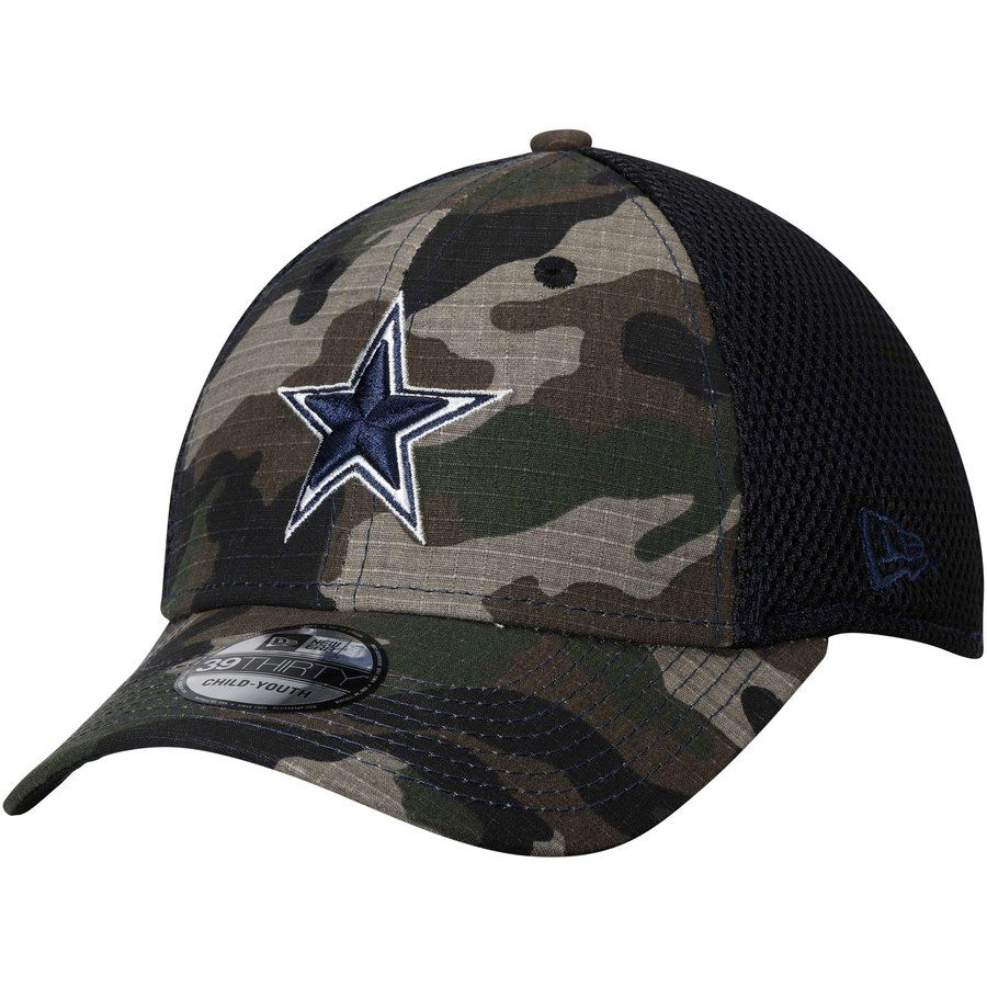 Youth Dallas Cowboys New Era Camo Woodland Shock Stitch Neo 39THIRTY Flex  Hat d8f1da0e0