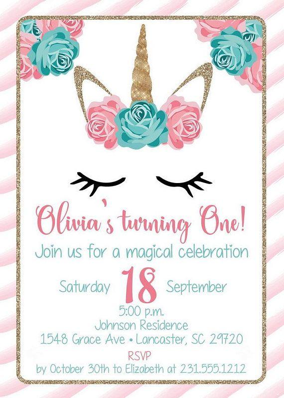 Editable Unicorn Invitation, Magical Unicorn Party, Unicorn Birthday Invitation, corjl Instant
