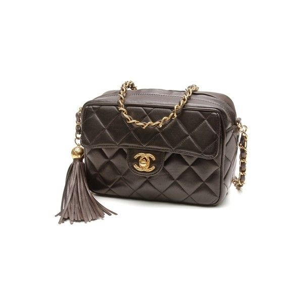 76a093e70758 Pre-Owned Chanel Vintage Black Quilted Lambskin Tassel Camera Bag (€910) ❤  liked on Polyvore featuring black and chanel