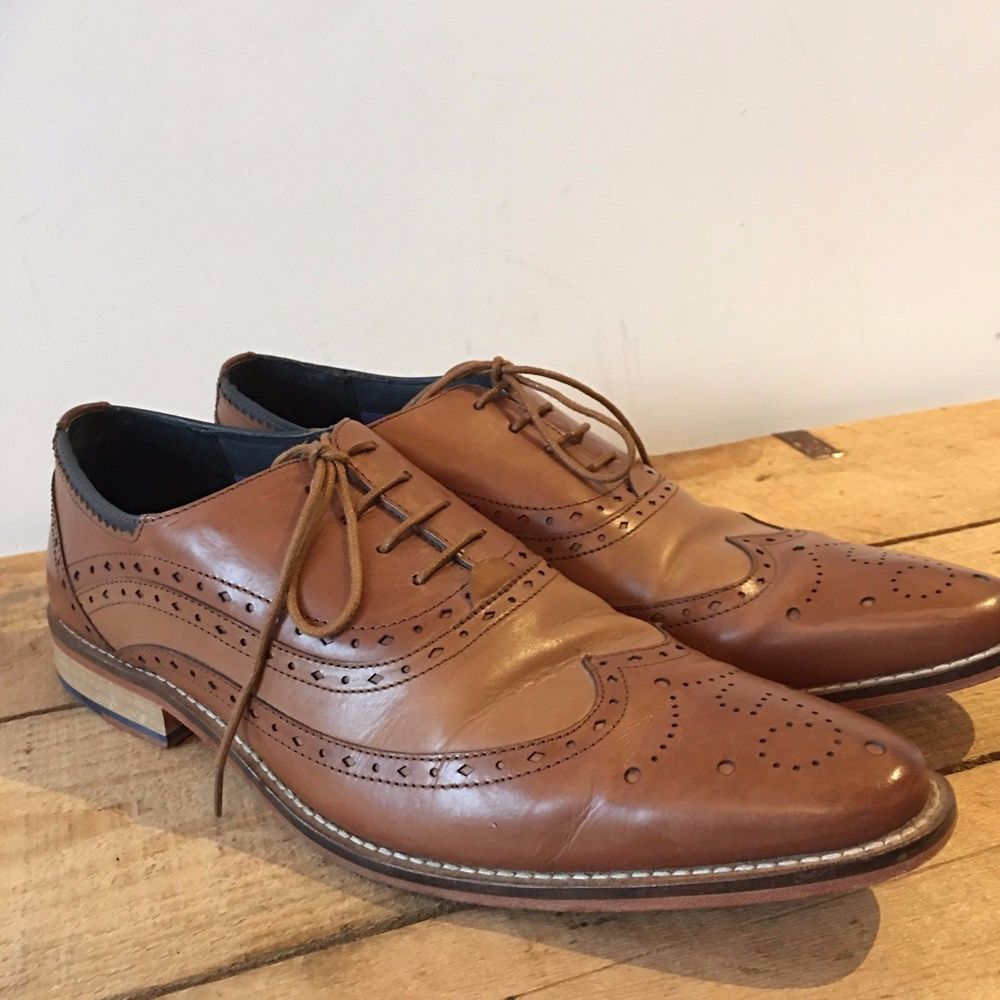 2ac59d88869 UK SIZE 10 MENS GOODWIN SMITH TAN LEATHER BROGUE STYLE SLIM TOE LACE ...