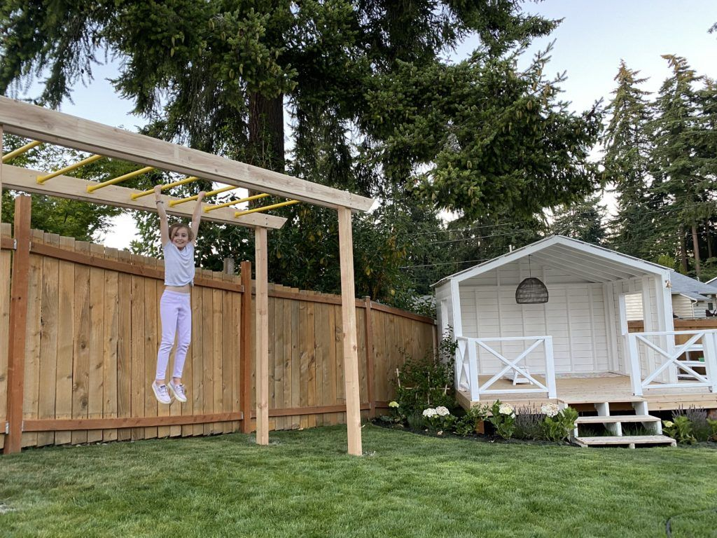 Diy Monkey Bars Dream Come True Today We Are Going To Walk You Through How We Built This And Stay Tuned Because Its No In 2021 Diy Monkey Bars Monkey Bars Backyard Backyard diy monkey bars