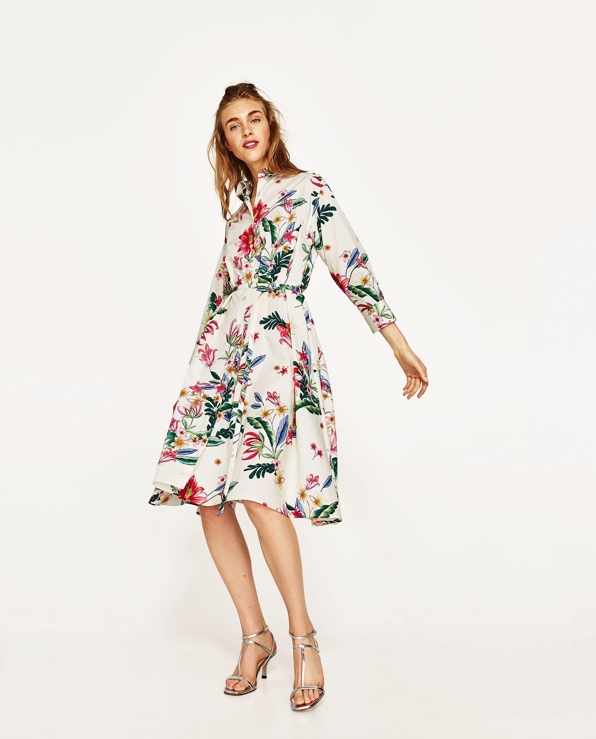 3b4de516 ZARA - WOMAN - SHIRT DRESS Striped Midi Dress, Midi Shirt Dress, Floral  Shirt