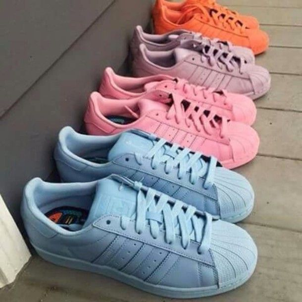 sale retailer ca0ce f4bdb Wheretoget - Pastel blue, pink, purple and orange Adidas Superstars sneakers