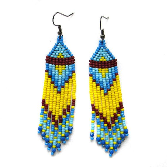 Yellow and Blue beaded earrings - long dangle earrings - beadwork jewelry