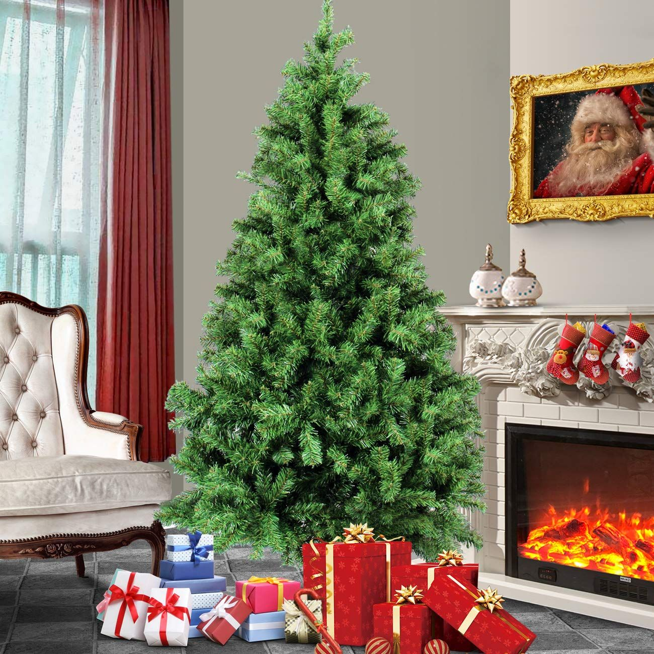 Belleze 6ft Premium Artificial Christmas Tree W Solid Metal Legs 1000 Tips Full Tree Easy Assembly Unli Christmas Tree Artificial Christmas Tree Real Christmas