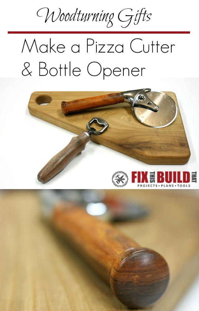 pizza cutter and bottle opener kit woodturning easy gifts and bottle opener. Black Bedroom Furniture Sets. Home Design Ideas
