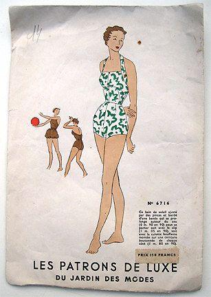 Vintage 50s Halter Swim Bathing Suit, Swimsuit Sewing Pattern ...