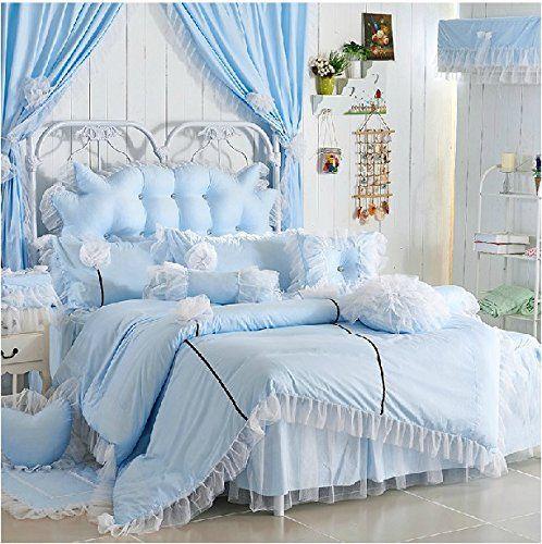 FADFAY, Romantische Mädchen, Hellblau (Bettwäsche, Moderne Korean Rüschen  Princess Bed In A