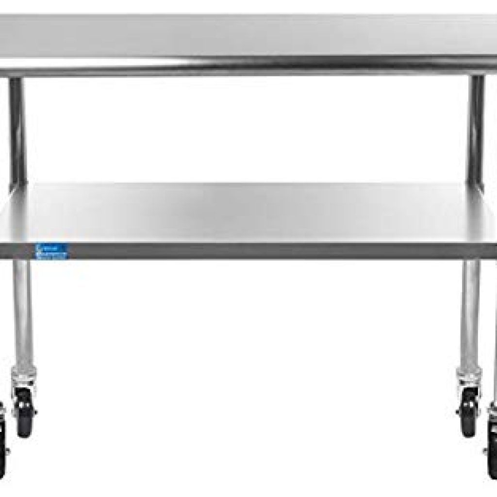 Metal Table With Casters Work Table With 4 Casters Wheels Stainless Steel Food Prep Worktabl Metal Table Square Coffee Table Metal Stainless Steel Work Table